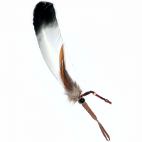 Indianer Räucherfeder weiss mit schwarzer Spitze ca. 24-27 cm