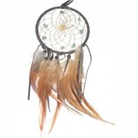 Traumfänger Visionen-Sucher braun dunkel mit Bergkristall & Aventurin B 10 cm - L 36 cm