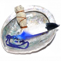 Räucherset Feder blau mit Abalone ca. 12-14 cm und White Sage