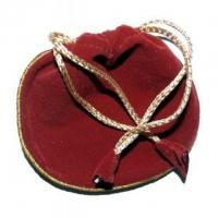 Velour-Beutel rot Band goldfarben