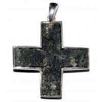 Kreuz Nolla Pyrit mit Silberfassung