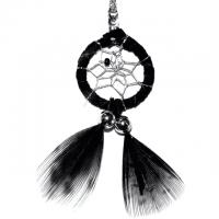 Indianerschmuck Halskette Traumfänger schwarz 2 cm