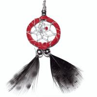 Indianerschmuck Halskette Traumfänger rot 2 cm