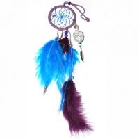 Traumfänger Magie violett 5 cm mit Bergkristall