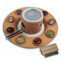 Räucherstövchen mit Teller, Zange, Bürstchen, Sand
