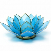 Fünftes Chakra Lotus Teelichthalter türkis