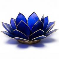 Sechstes Chakra Lotus Teelichthalter indigo