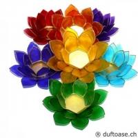 Chakra Teelichthalter Set Lotusblüte gross 7 Teile