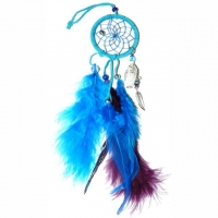 Traumfänger Magie türkisfarben 6,5 cm mit Bergkristall