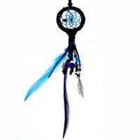 Traumfänger Magie schwarz mit kleinem Edelsteinchen B 4 cm - L 22 cm