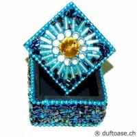 Döschen Ø 4,5 cm türkisfarben mit Glitzerperlen