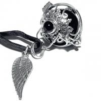 Engelrufer Onyx Edelstein mit Klangkugel schwarz und Silberflügel