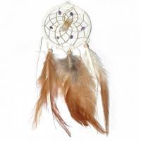 Traumfänger Visionen-Sucher weiss mit Bergkristall & Amethyst B 7,5 cm - L 32 cm