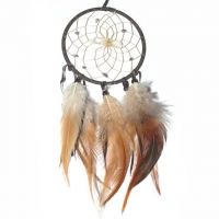 Traumfänger Visionen-Sucher braun dunkel mit Bergkristall & Amethyst B 10 cm - L 36 cm