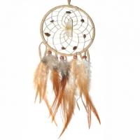 Traumfänger Visionen-Sucher natur mit Bergkristall & Tigerauge B 10 cm - L 36 cm