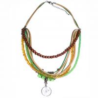 Indianer-Halskette mit Traumfänger grün-braun