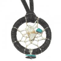 Indianerschmuck Halskette Traumfänger dunkelbraun Türkis