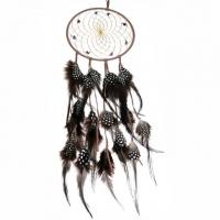 Traumfänger Federtraum B 15,5 cm - L 50 cm braun mit Amethyst