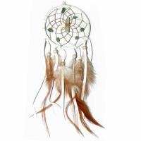 Traumfänger Visionen-Sucher weiss mit Bergkristall & Aventurin B 7,5 cm - L 32 cm